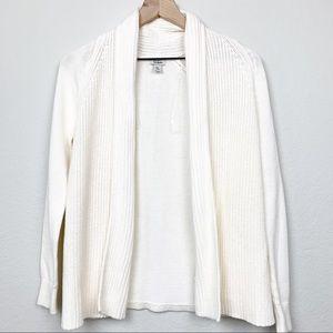 L.L. Bean Cream Ivory Open Front Cardigan Sweater